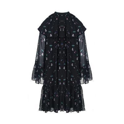 cape design ruffle dress black